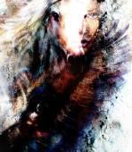 美しい女性と美しい鷲馬の絵画絵画イラストのコラージュ — ストック写真