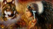 One dollar collage with indian woman warrior and wolf, ornament background. — Stock Photo