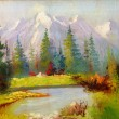 Постер, плакат: Beautiful Original Oil Painting Landscape On Canvas Snow covered mountains in the background