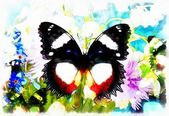 Abstract Flower  with butterfly, computer collage painting — Stock Photo
