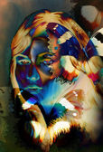 Woman angelic face and a butterfly. Structure and color Collage art — Stock Photo