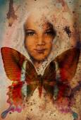 Young girl angelic face and a butterfly. Structure and color Collage art — Stock Photo