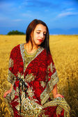 Smiling Young woman with ornamental dress standing on a wheat field with sunset. Natural background and blue sky. — Stockfoto