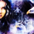 Beautiful airbrush painting of an enchanting woman face with two flying eagles — Stock Photo #80414444