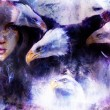 Beautiful painting Woman  with a flying eagle beautiful painting illustration collage. — Stock Photo #80415752