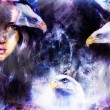 Beautiful painting Woman  with a flying eagle beautiful painting illustration collage. — Stock Photo #80415934