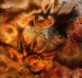 Women eye beaming. color rust effect. painting collage and  Abstract  sea shell. — Stock Photo