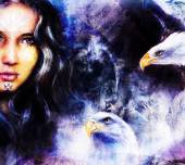 Beautiful airbrush painting of an enchanting woman face with two flying eagles — Stock Photo