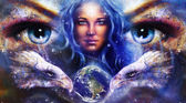 Goddess Woman in space with light stars and eagles head, eyes women with earth. Eye contact, Abstract color background. — Stock Photo