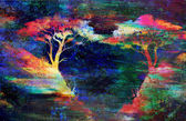 Painting sunset, sea and tree, wallpaper landscape, color collage. — Photo