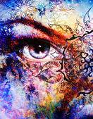 Blue goddess women eye, multicolor background with oriental mandala ornament. eye contact. — Stock Photo