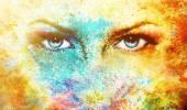 Mavi Tanrıça kadınlar göz, oryantal mandala süsleme ile çok renkli arka plan. göz teması. — Stok fotoğraf