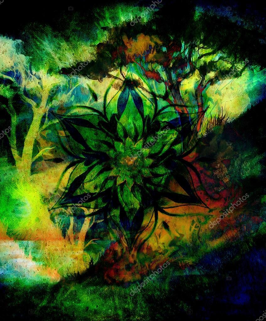 Peinture arbre papier peint paysage et mandala ornemental - Mandala paysage ...