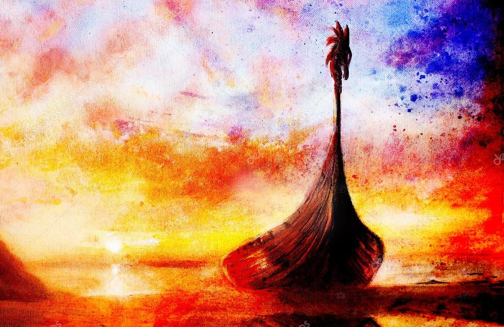 Viking boot op het strand schilderij op doek boot met hout draak en structuur achtergrond - Associatie van kleur e geen schilderij ...