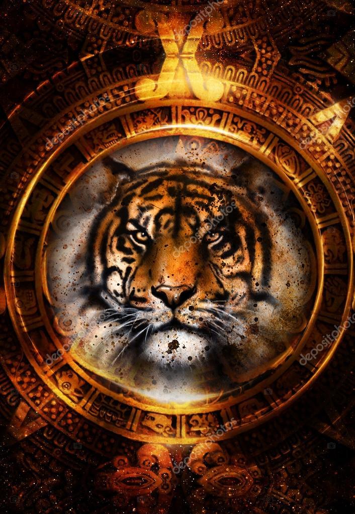 Alten Maya-Kalender Und Tiger Kopf, Abstrakte Farbe Hintergrund ...