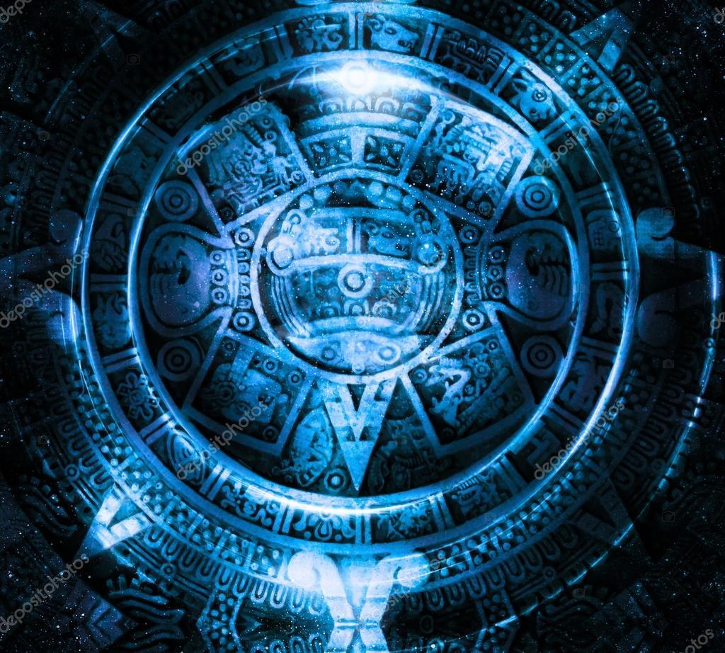 Alte Maya-Kalender und Tiger Kopf, abstrakt Farbe Hintergrund ...