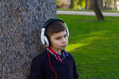 Boy in a tree listening to music — Stock Photo
