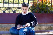Boy thinking on homework — Stock Photo