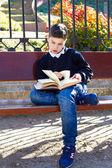 Chlapec s knihou v parku — Stock fotografie