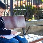 Boy writes in notebook — Stock Photo #65777093