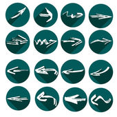 White arrows in grunge style. Green flat icons. — Stock Vector