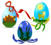 Easter eggs with silhouettes of animals and ribbons — Stock Vector