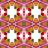 バラ、シームレス パターン ピンクとゴールドのリボン パッケージ — ストック写真