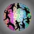 Street and break dance silhouettes in strobe ball — Stock Vector #65283829