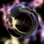 Luminous dark magic ball with plasma beams — Stock Photo #68254865