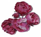 Relief embossed red and pink roses reminiscent of woodcut — Stock Photo