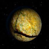 Abstracte gebarsten stenen meteoriet — Stockfoto