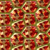 Seamless relief floor pattern of polygonal stones with red, yellow and brown marbled structure — Stock Photo