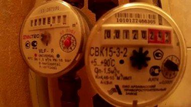 Water meters in households — Stock Video
