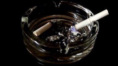 Smoldering cigarette in an ashtray — Stock Video