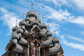 Domes of wooden church in Kizhi — Stock Photo