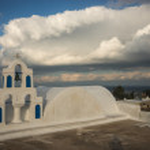 Campanile of  white church in Oia — Stock Photo #62967313