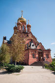 Majestic red church in Astrakhan — Stock Photo