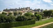 Weergave versterkte van oude stad van Carcassonne — Stockfoto