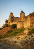 Vista do velho fortificada cidade de Carcassonne — Fotografia Stock