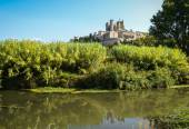 Castle in Beziers  and river — Stock Photo