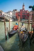 Moored Gondolas in Venice — Stock Photo