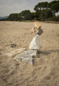 Pyramid of stones on the beach — Stock Photo