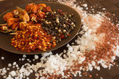 Salt, pepper and spices on table — Stock Photo