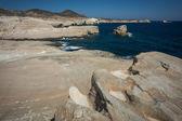 Månlandskap stranden Sarakiniko, Milos, Grekland — Stockfoto