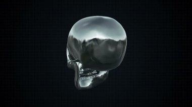 Metal Cyber Human skull Silver Loopable. Alpha matte — Vídeo Stock
