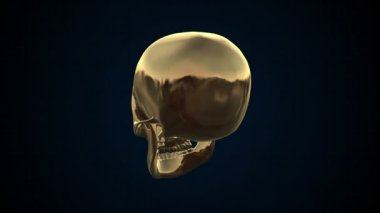 Metal Cyber Human skull Gold Loopable. Alpha matte — Stock Video