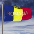 Romania flag with title waving in the wind. Looping sun rises style.  Animation loop — Stock Video #70043945