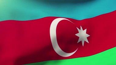 阿塞拜疆的国旗在风中飘扬。循环太阳升起的风格。动画循环 — 图库视频影像