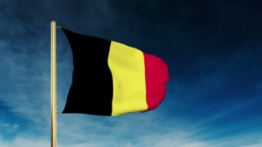 Belgium flag slider style. Waving in the win with cloud background animation — Stock Video