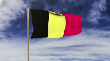 Belgium flag waving in the wind. Green screen, alpha matte. Loopable animation — Stok video